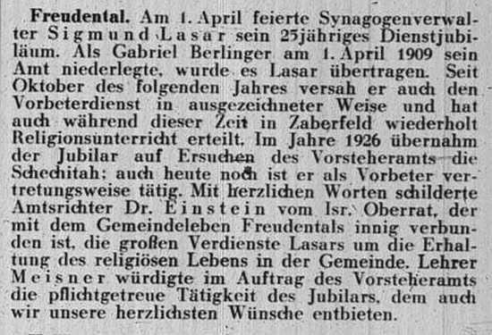 Das Gemeindeblatt berichtet am 16. April 1934 über Sigmund Lasars Dienstjubiläum.